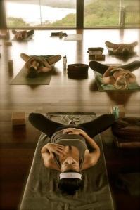 supine butterfly moshka yoga